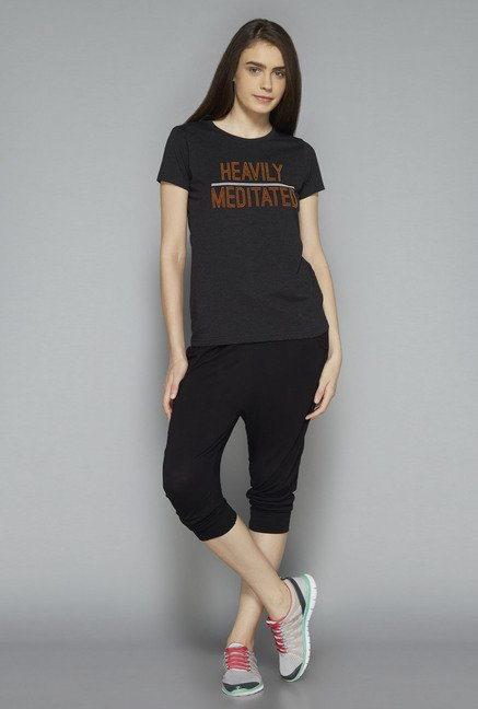 Westsport by Westside Dark Grey Printed T Shirt