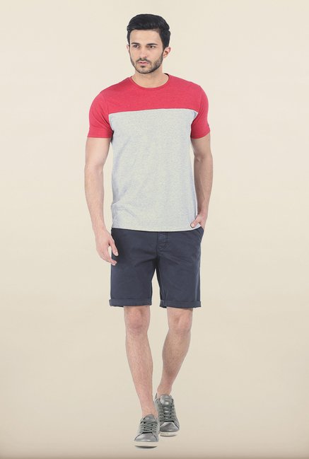 Basics Grey & Dahlia Red Melange Crew T Shirt