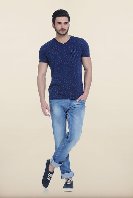 Basics Denim Blue Printed V-Neck T Shirt