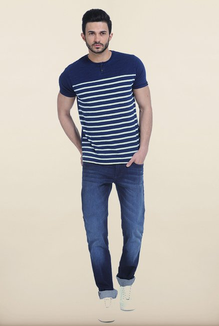 Basics Denim Blue Henley T Shirt