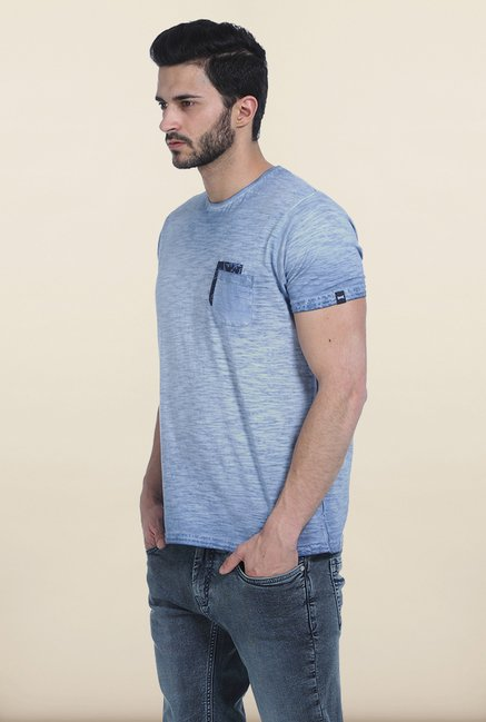 Basics Dusk Blue Crew Over Dyed T Shirt