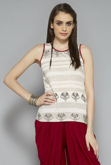 Bombay Paisley by Westside Off White Printed Top