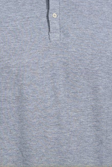 Basics Heather Grey Melange Lycra Polo T Shirt