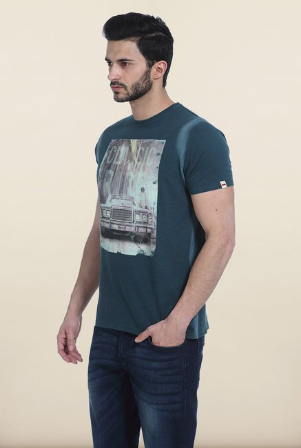 Basics Jasper Green Distressed Crew Neck T Shirt