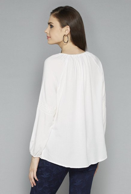 LOV by Westside White Embroidered Top