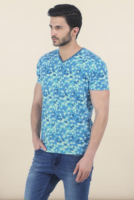 Basics Blue Shadow Printed V Neck T Shirt