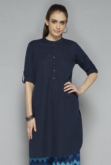 Utsa by Westside Navy Solid Kurti