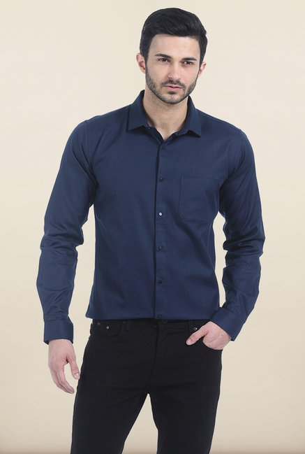 Basics Slim Fit Blueberry Twill Shirt