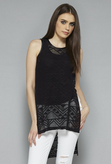 Nuon by Westside Black Self Print Top