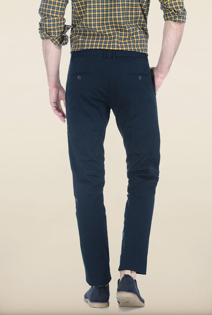 Basics Tapered Fit Navy Peached Twill Stretch Trouser