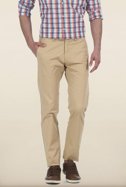 Basics Tapered Fit Beige Peached Twill Stretch Trouser