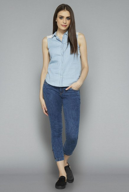 Nuon by Westside Light Blue Solid Blouse