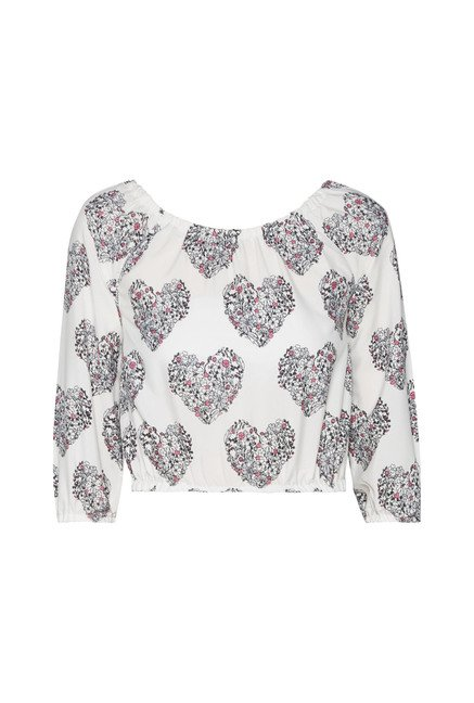 Nuon by Westside White Heart Print Crop Top