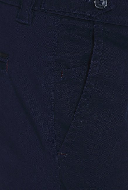Basics Skinny Fit Navy Dobby Structure Stretch Trouser