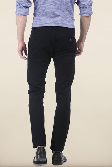 Basics Skinny Fit Black Dobby Structure Stretch Trouser