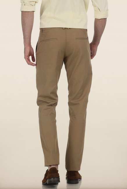 Basics Tapered Fit Cumin Slub Twill Cotton Trouser