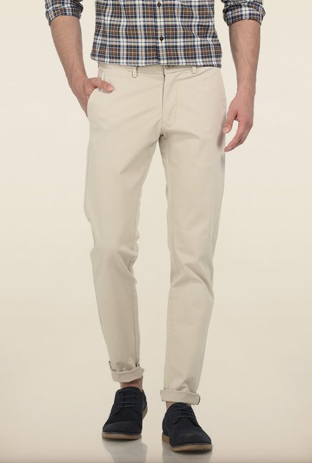Basics Tapered Fit Sand Shell Dobby Stretch Trouser