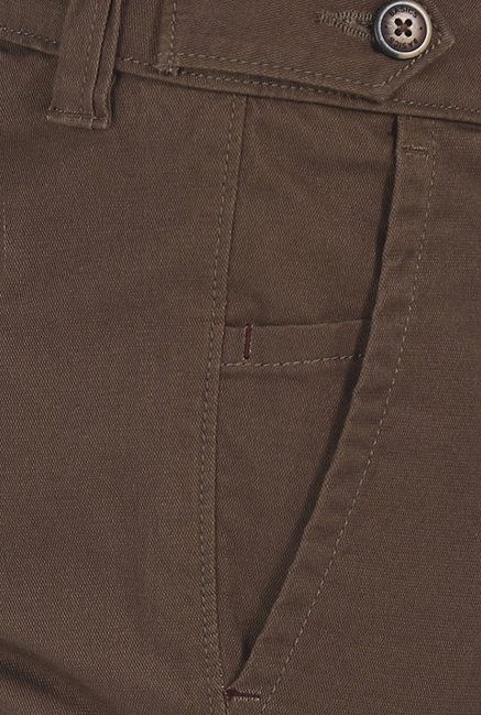 Basics Skinny Fit Brown Dobby Structure Stretch Trouser