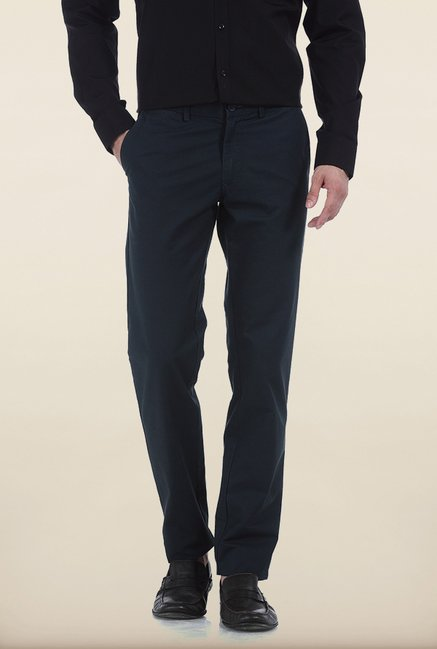 Basics Slim Fit Midnight Navy Slub Twill Cotton Trouser
