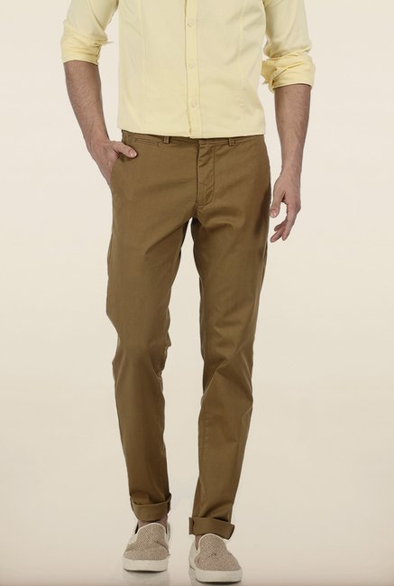 Basics Tapered Fit Khaki Irregular Matt Stretch Trouser