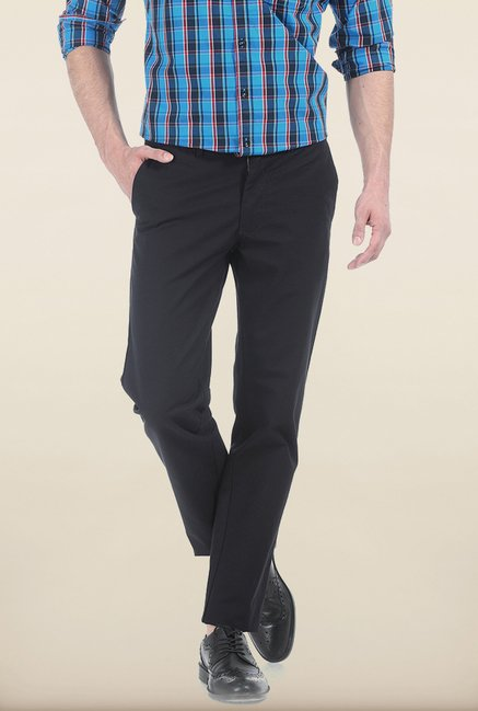 Basics Slim Fit Moonless Night Slub Twill Cotton Trouser