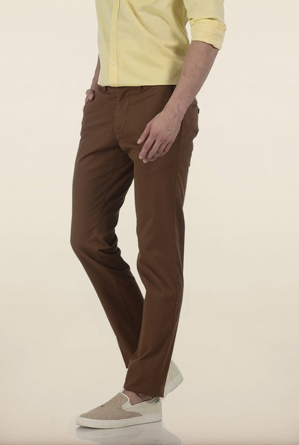 Basics Tapered Fit Brown Irregular Matt Stretch Trouser