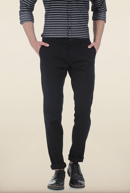 Basics Tapered Fit Black Peached Twill Stretch Trouser