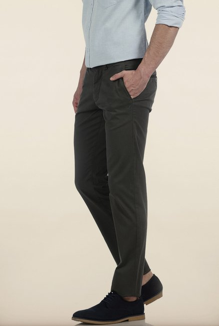 Basics Tapered Fit Olive Irregular Matt Stretch Trouser
