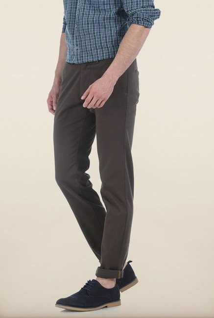 Basics Tapered Fit Olive Stepped Twill Stretch Trouser