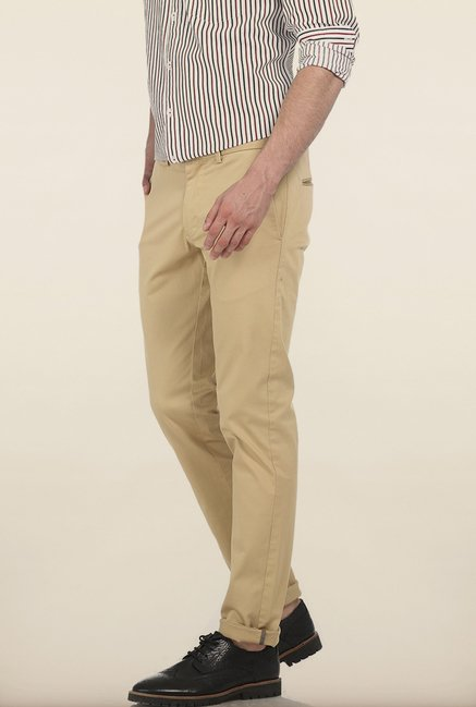 Basics Tapered Fit Warm Sand Dobby Stretch Trouser