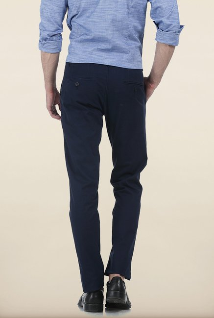 Basics Tapered Fit Navy Irregular Matt Stretch Trouser