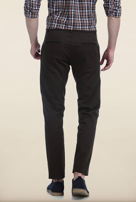 Basics Tapered Fit Brown Dobby Peached Stretch Trouser
