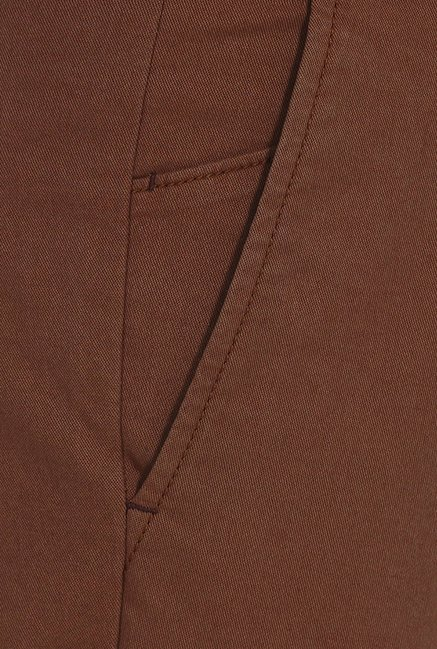 Basics Tapered Fit Brown Peached Twill Stretch Trouser