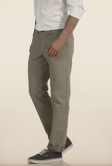 Basics Slim Fit Grey Dobby Structure Cotton Trouser