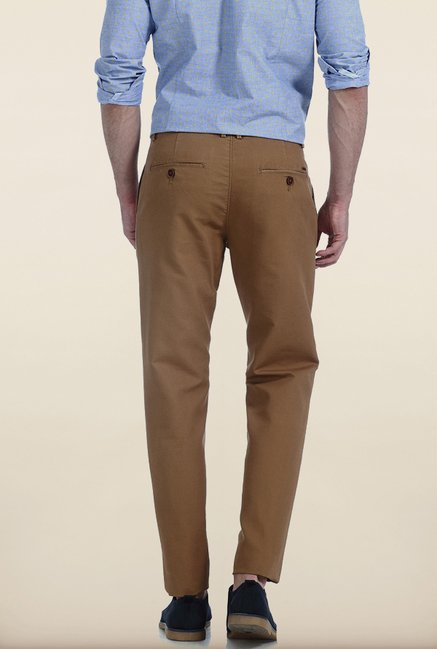 Basics Slim Fit Bone Khaki Dobby Structure Cotton Trouser