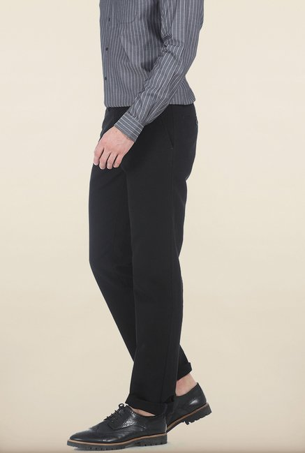 Basics Slim Fit Moonless Nigh Dobby Structure Cotton Trouser