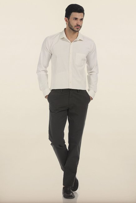 Basics Slim Fit Coffee Bean Weft Rib Cotton Trouser