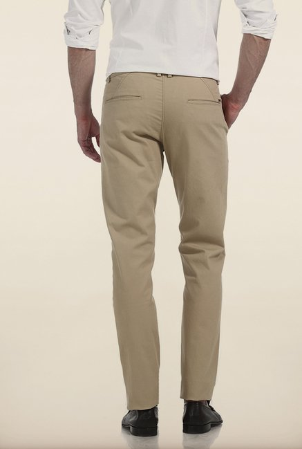 Basics Tapered Fit Beige Dobby Peached Stretch Trouser