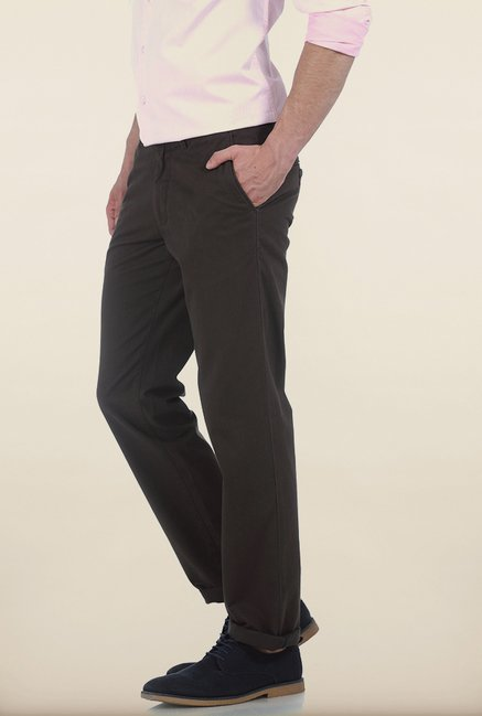 Basics Slim Fit Dark Grey Twill Cotton Trouser