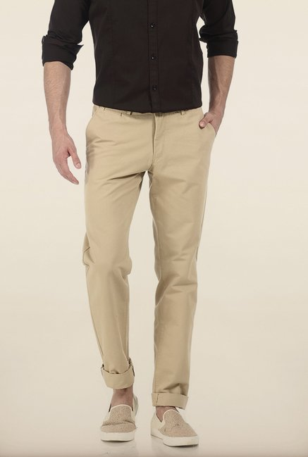 Basics Slim Fit Almond Buff Weft Rib Cotton Trouser