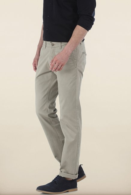 Basics Skinny Fit Tuffet Grey Peached Twill Stretch Trouser