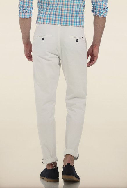 Basics Slim Fit Snow White Twill Cotton Trouser