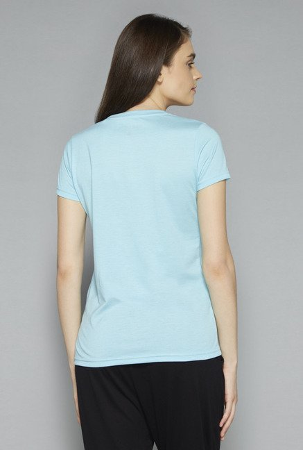 Westsport by Westside Sky Blue Printed T Shirt