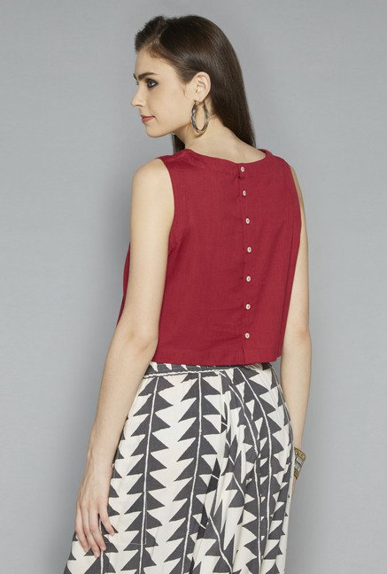 Bombay Paisley by Westside Maroon Printed Crop Top