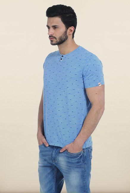 Basics Heritage Blue Henley Over dyed T Shirt
