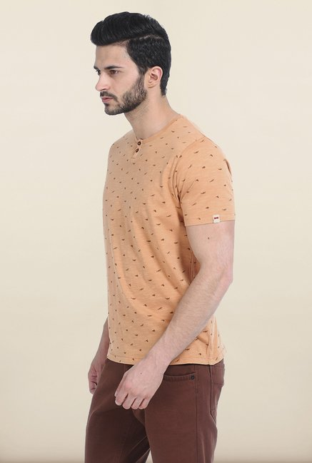 Basics Orange Henley Over Dyed T Shirt