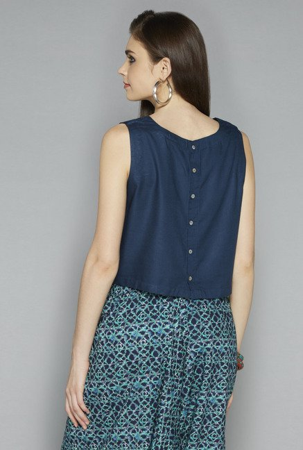 Bombay Paisley by Westside Indigo Solid Crop Top