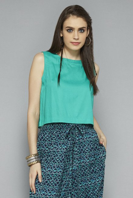 Bombay Paisley by Westside Green Solid Crop Top