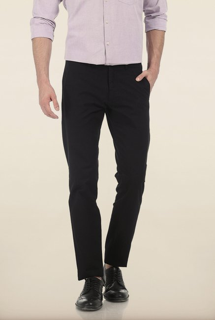 Basics Tapered Fit Vulcan Black Slub Twill Cotton Trouser