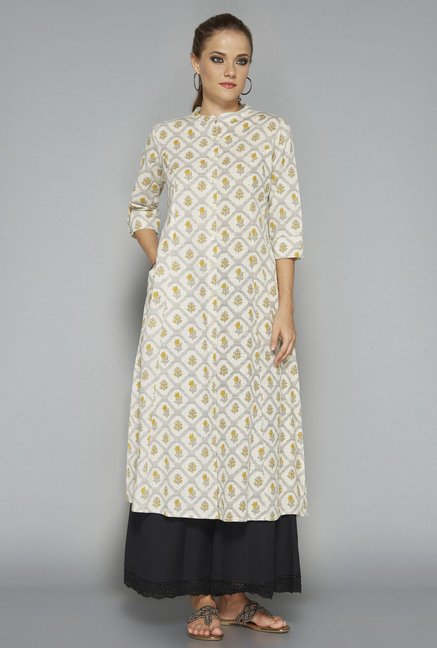 Utsa by Westside Off White Linen Kurta